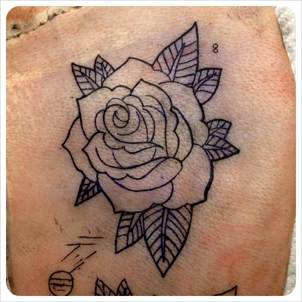 Practice tattoos on pig skin